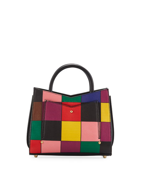 TOY RAINBOW LEATHER ACCORDION TOTE BAG