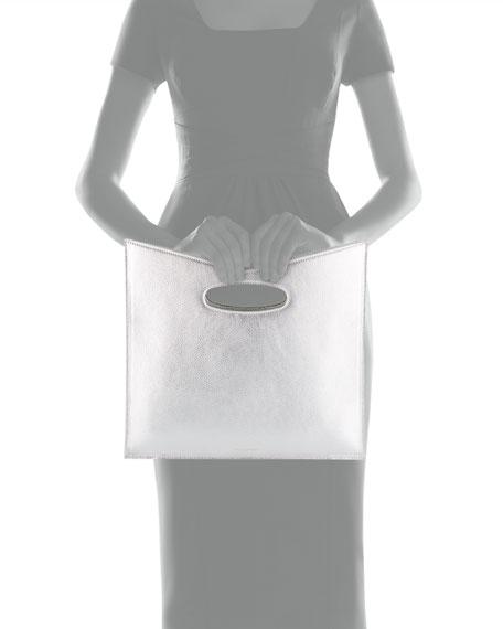 Bustina Metallic Leather V-Top Clutch Bag