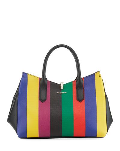 Cerniera Rainbow Striped Leather Tote Bag