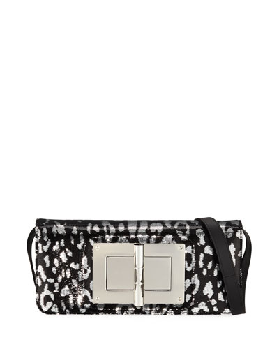 Natalia Jaguar Sequins East-West Clutch Bag