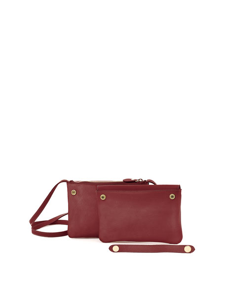 Il Bisonte Cowhide Leather Flap Crossbody Bag, Red