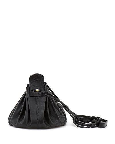 Drawstring Leather Crossbody Pouch Bag  Black