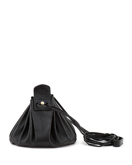 Drawstring Leather Crossbody Pouch Bag, Black