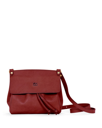 Large Leather Flap Crossbody Bag  Red