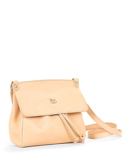 Large Leather Flap Crossbody Bag, Beige