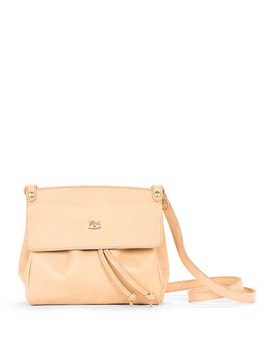 Large Leather Flap Crossbody Bag  Beige
