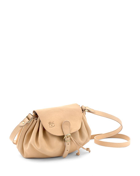 Ruched Drawstring Leather Crossbody Bag