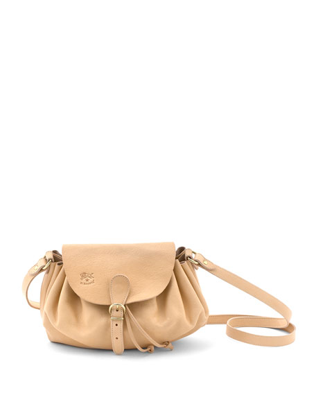 Ruched Drawstring Leather Crossbody Bag