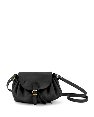 Ruched Leather Drawstring Crossbody Bag