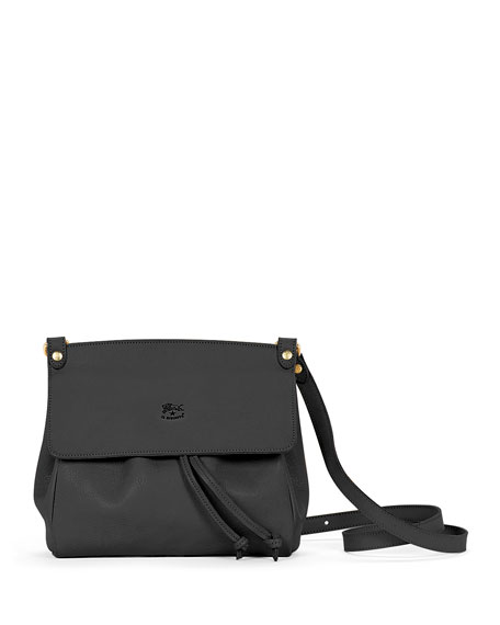 Il Bisonte Large Leather Flap Crossbody Bag, Black