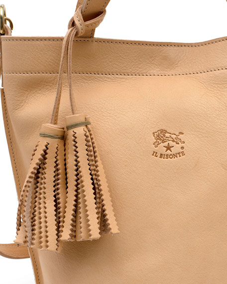 Cowhide Leather Bucket Bag, Beige