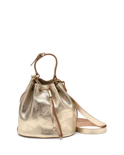 Metallic Leather Drawstring Bucket Bag, Champagne