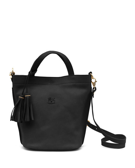 Cowhide Leather Bucket Bag, Black