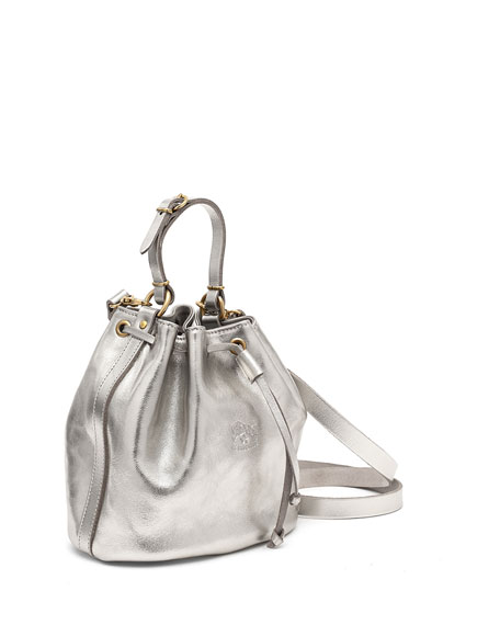 Il Bisonte Metallic Leather Drawstring Bucket Bag, Silver