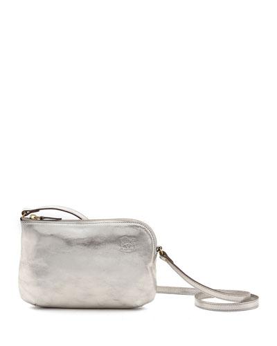 Metallic Leather Zip Crossbody Bag, Silver