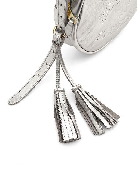 Metallic Circle Crossbody Bag, Silver