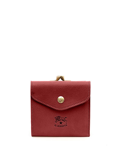 Leather Snap and Flap Wallet, Red