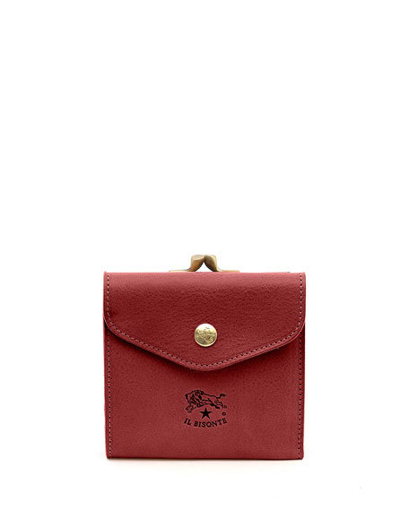 Il Bisonte Leather Snap and Flap Wallet, Red