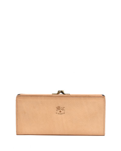 Soft Leather Continental Wallet, Beige