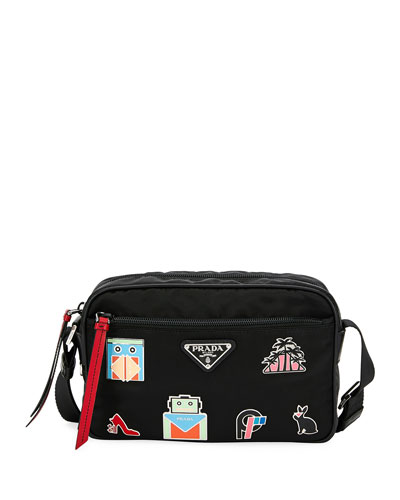 Nylon Shoulder Bag with Graphic Appliqués