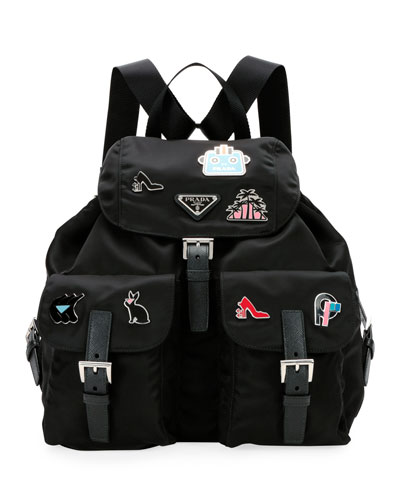 Nylon Backpack with Graphic Appliqués
