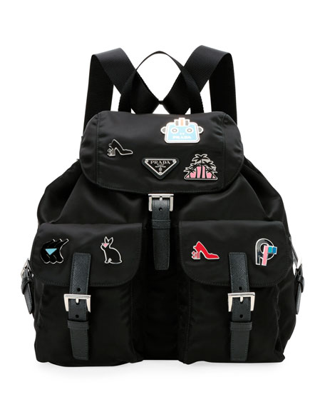 a2d233d8da950f Prada Nylon Backpack with Graphic Appliqués