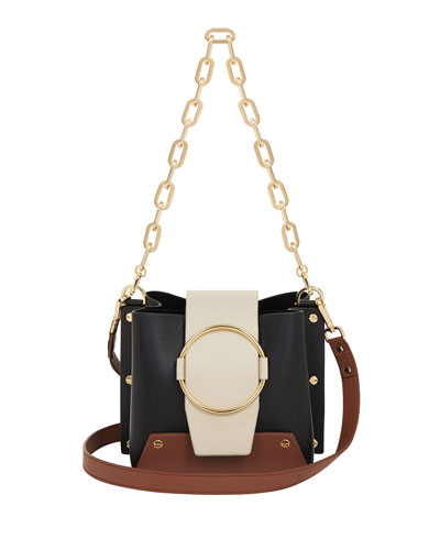 Delila Colorblock Leather Ring Bucket Bag