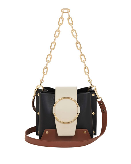 YUZEFI LIMITED Delila Colorblock Leather Ring Bucket Bag in Black