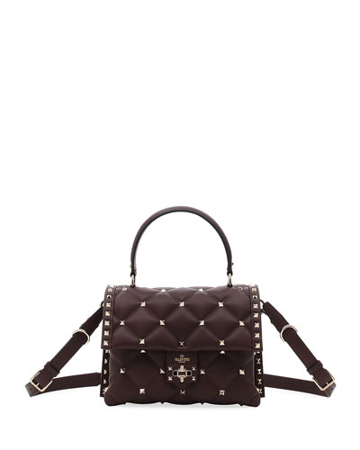 Candystud Quilted Leather Top-Handle Bag