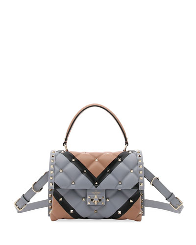 Candystud Quilted V-Stripe Top-Handle Bag