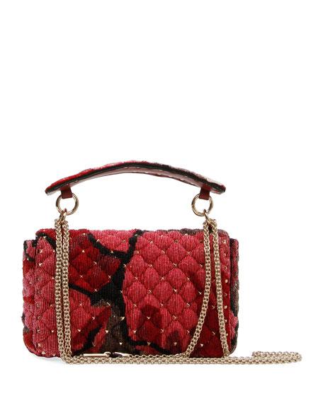 c94e9f24ac Valentino Garavani Spike.It Medium Shoulder Bag with Sequin Macro Flower