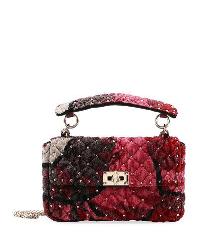 Spike.It Medium Shoulder Bag with Sequin Macro Flower