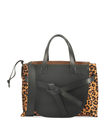 Leopard Print Calf Hair Leather Tote