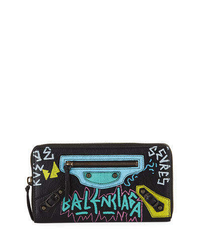 Classic Graffiti Continental Zip-Around Wallet