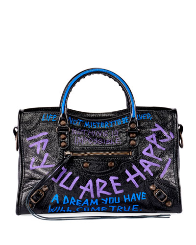 Metallic Edge City Small Graffiti Satchel Bag