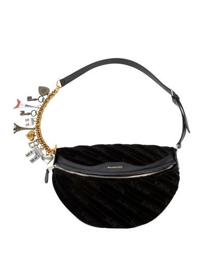 Souvenirs XS Velour Fanny Pack/Belt Bag with Charms