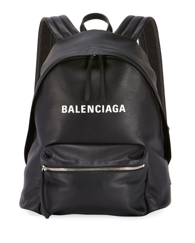 Everyday Large Leather Backpack with Logo