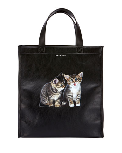Market Shopper Small Tote Bag with Kitten Animal Graphic