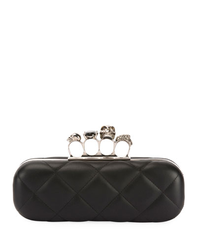 Long Quilted Napa Leather 4-Ring Knuckle Clutch Bag