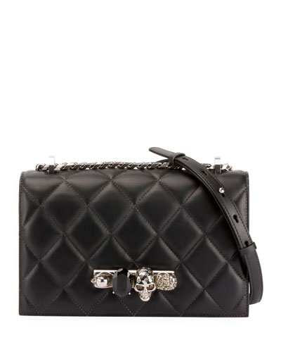 Jewelled Quilted Leather Satchel Bag - Silvertone Hardware