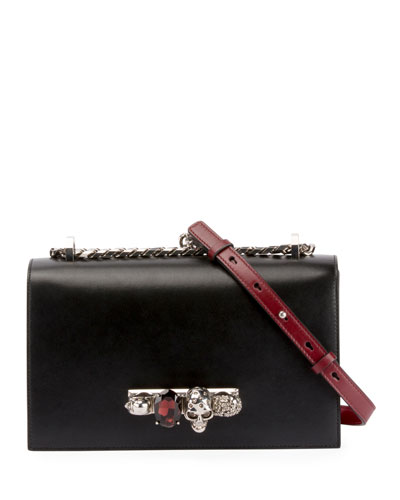Jewelled Colorblock Leather Satchel Bag - Silvertone Hardware