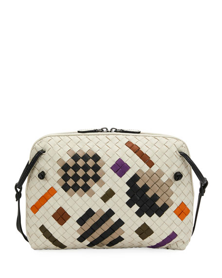 Pillow Intrecciato Leather Crossbody Bag, White Pattern