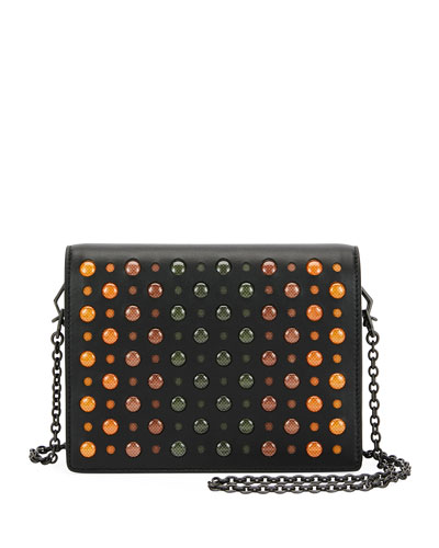Cantena Perforated Leather Crossbody Wallet on Chain