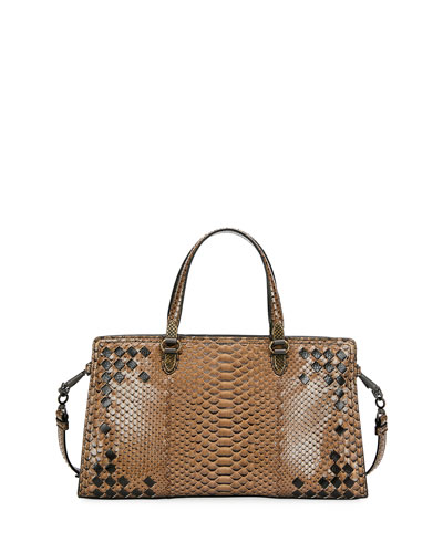 Bicolor Python East-West Tote Bag