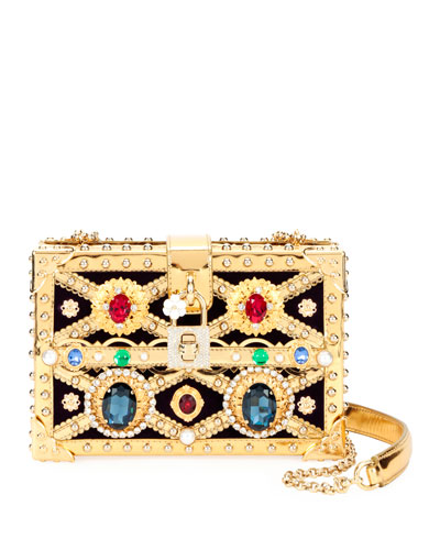 Jeweled Framed Box Clutch Bag