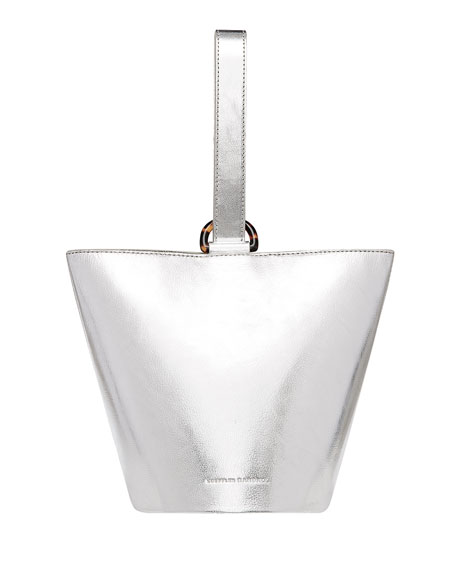 Dolly O-Ring Leather Bucket Tote, Silver