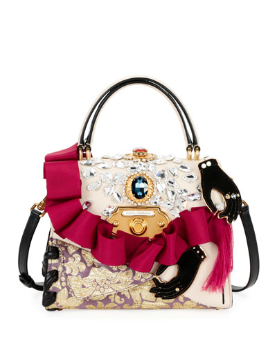 Welcome Embellished Top Handle Bag