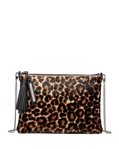Leopard-Print Fur Tassel Pouch Bag