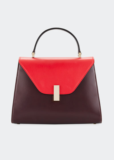 Leather Colorblock Iside Bag, Red