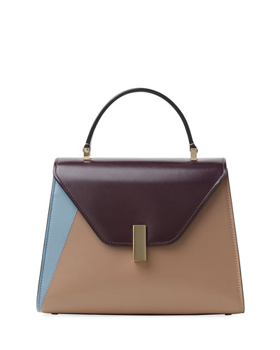 Leather Colorblock Iside Bag,